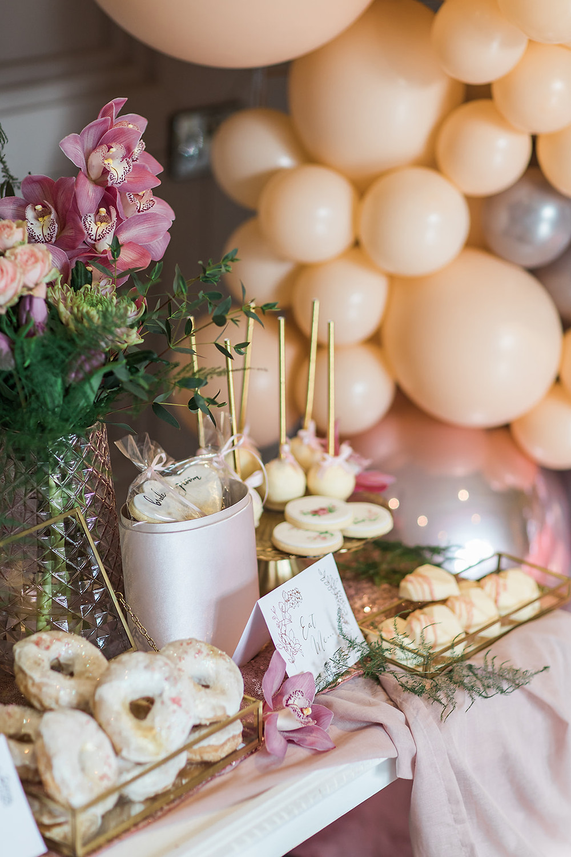 wedding flowers charlton hall florist balloons pink cake  stationery doughnuts