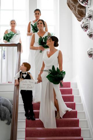 Tropical leaf bridesmaid bouquets at Charlton Hall Northumberland