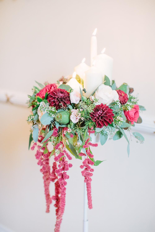 Eshott Hall Reading Rooms wedding ceremony pedestal flower arrangement