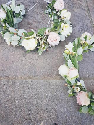 Bridesmaid flower crowns at Newton Hall wedding