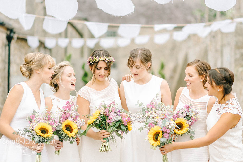 Summer flower hand tied Bridal bouquet at Doxford Barns Northumberland. Image by Sarah Jane Ethan