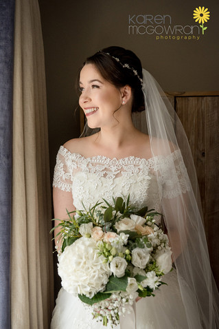 White and blush Bridal Bouquet at HEaley Barn Northumberland