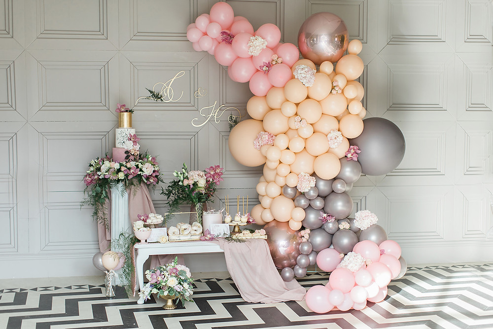 wedding flowers charlton hall northumberland florist balloons pink grey vanilla cake desert luxurious doughnuts biscuits monogram sign stationery