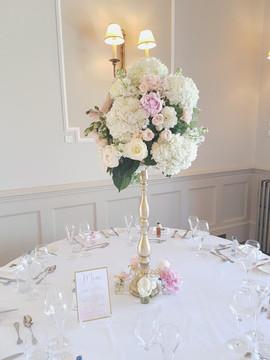 Matfen Hall elegant gold, blush and white centrepiece