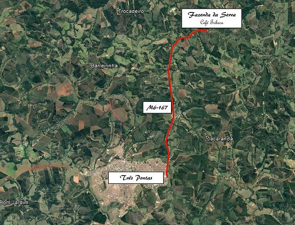 Mapa fazenda da serra café especial tribeca