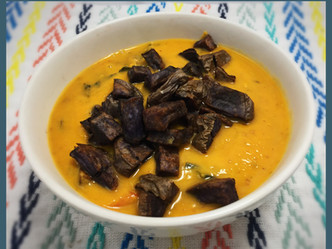 Sweet Potato Tahini Soup with Blue Potato 'Croutons'