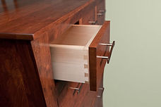 close up of hand built amish wood drawer