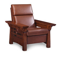 amish recliner with leather cushion