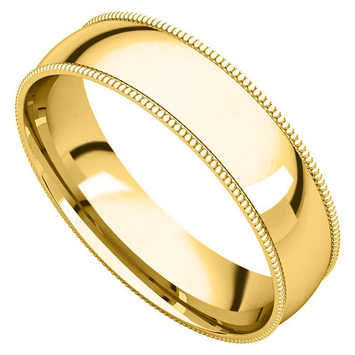 14k Yellow Gold 5-mm Standard-fit Milgrain and polished Wedding Band
