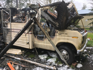Firefighters Stop RV Fire Prior to Spreading to Nearby Structure.