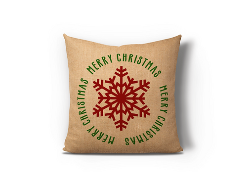 Merry Christmas Snowflake Burlap Pillow Case