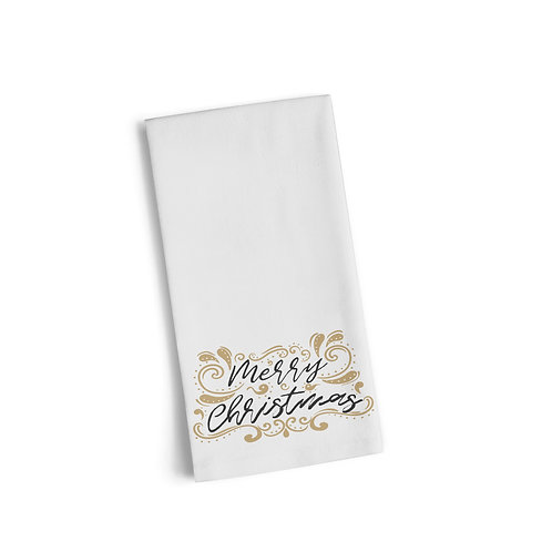 Merry Christmas Gold Floral 2 Flour Towel