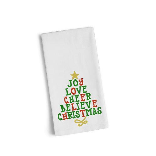 Words Christmas Tree 5 Flour Towel