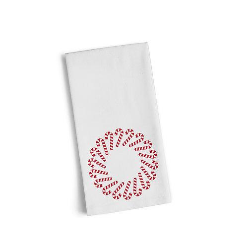 Candy Cane Monogram Flour Towel