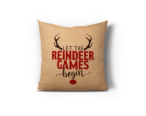 Reindeer Games Burlap Pillow Case