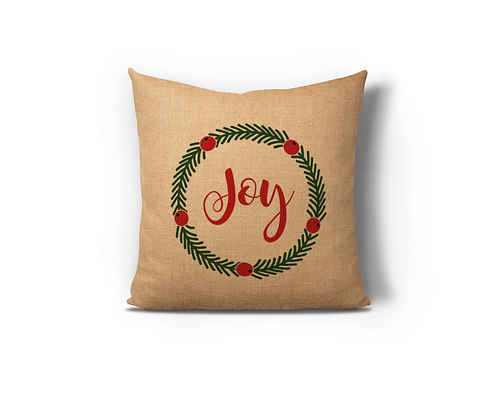 Joy Wreath Burlap Pillow Case