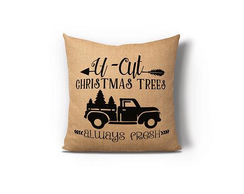 U-Cut Christmas Trees Burlap Pillow Case
