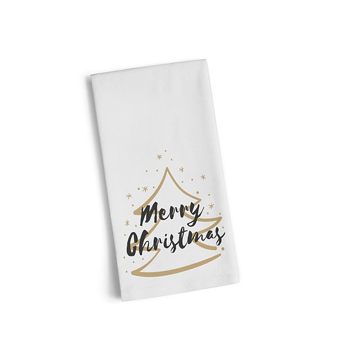 Merry Christmas Gold Tree 2 Flour Towel