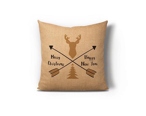 New Year Deer Arrow Burlap Pillow Case