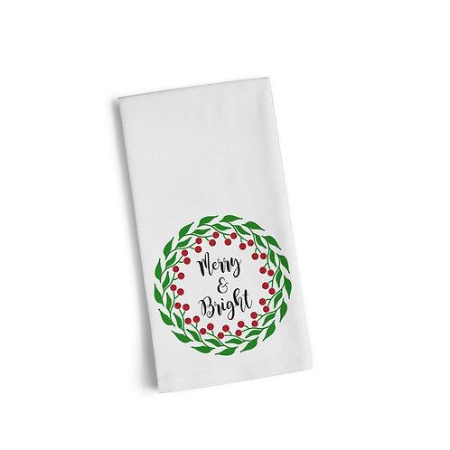 Merry & Bright Wreath Flour Towel