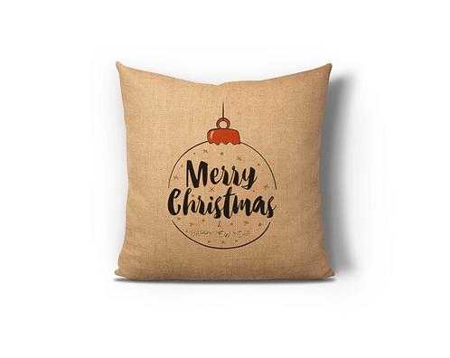 Christmas Ornament Burlap Pillow Case