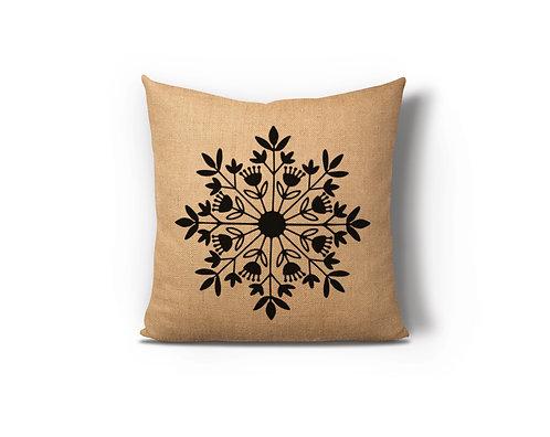 Snowflake Burlap Pillow Case