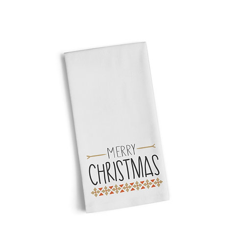 Merry Christmas Gold Pattern Flour Towel