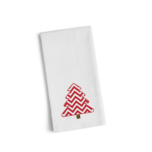 Red Christmas Tree Flour Towel