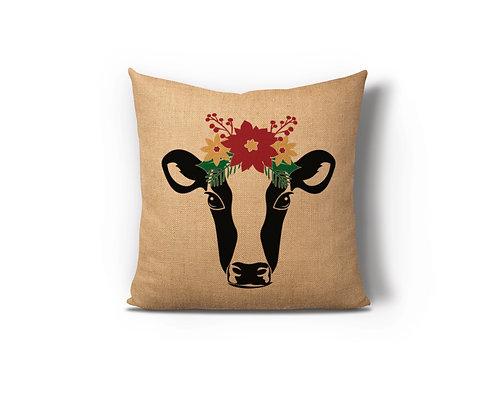 Farmhouse Cow Floral Burlap Pillow Case