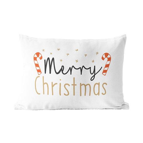 Candy Cane Merry Christmas Queen Pillow Case