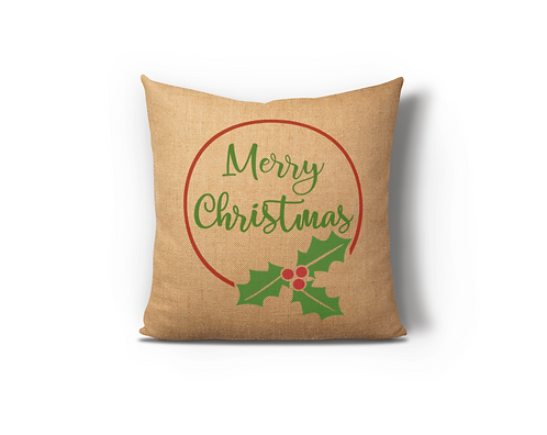 Merry Christmas Circle Burlap Pillow Case