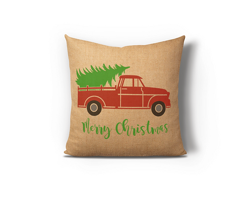 Merry Christmas Red Truck Burlap Pillow Case