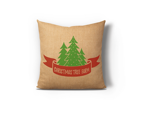 Christmas Tree Farm Burlap Pillow Case
