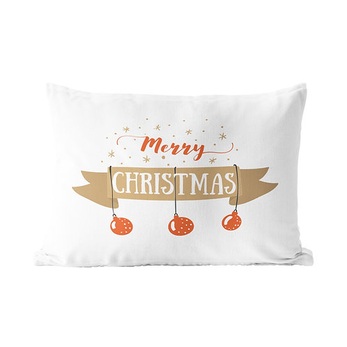 Merry Christmas Ornament Queen Pillow Case