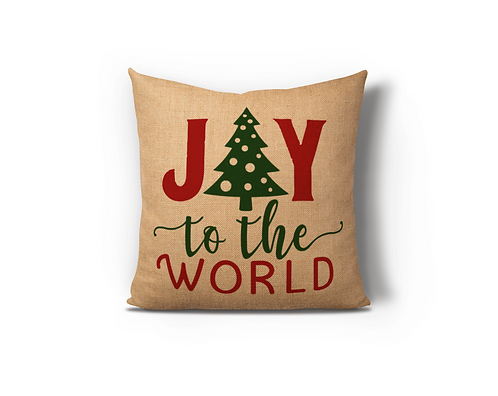 Joy To The World Burlap Pillow Case