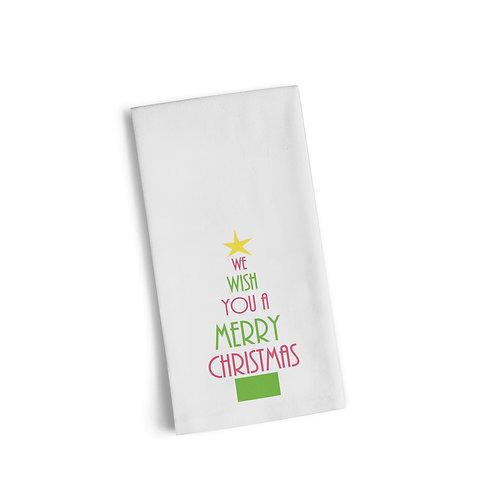 Words Christmas Tree 4 Flour Towel