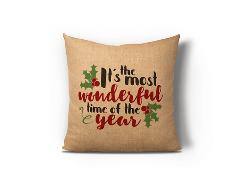 Most Wonderful Time Burlap Pillow Case
