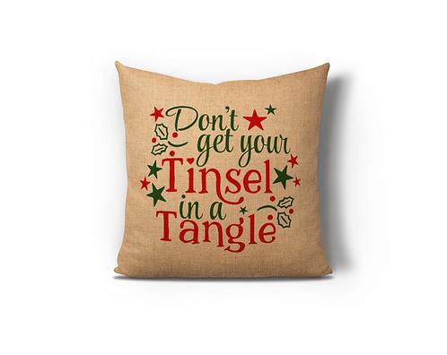 Tinsel in a Tangle Burlap Pillow Case