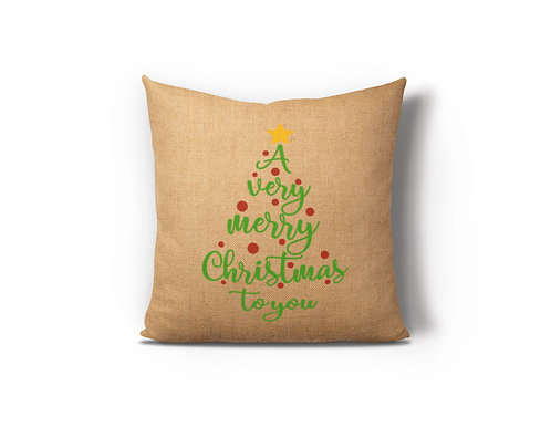 A Very Merry Christmas To You Burlap Pillow Case