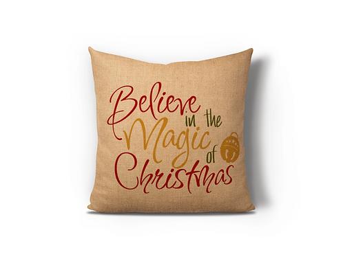 Believe in the Magic Burlap Pillow Case