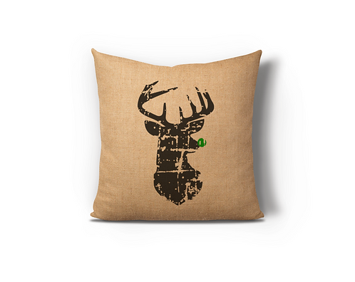 Distressed Reindeer Green Burlap Pillow Case