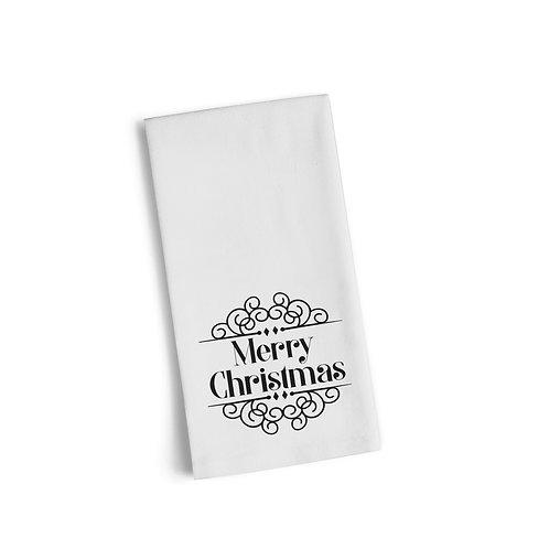 Merry Christmas Script Flour Towel