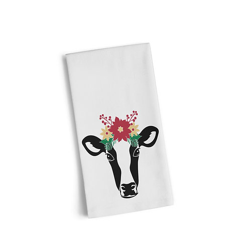Floral Cow Flour Sack Towel