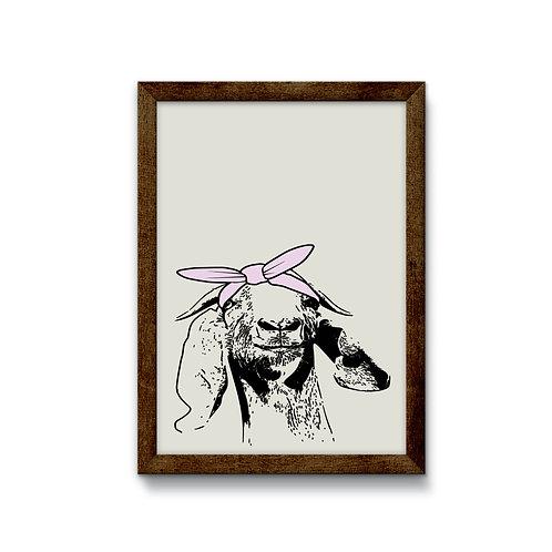 Goat with Bandana Reverse Canvas Sign