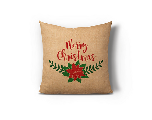 Merry Christmas Flower Burlap Pillow Case