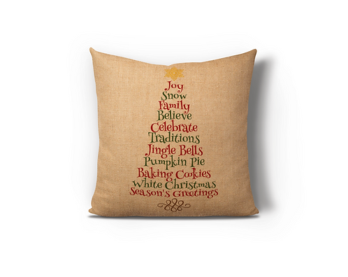 Christmas Word Tree Burlap Pillow Case