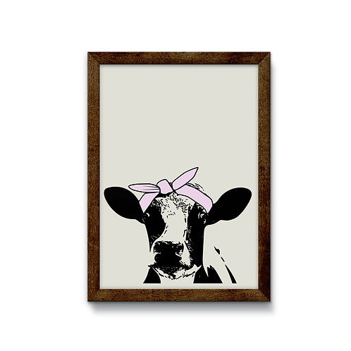 Cow with Bandana Reverse Canvas Sign