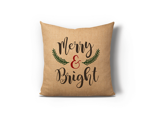 Merry & Bright Burlap Pillow Case