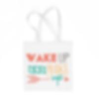 Tote Bag - White - Wake Up and Make Up.p