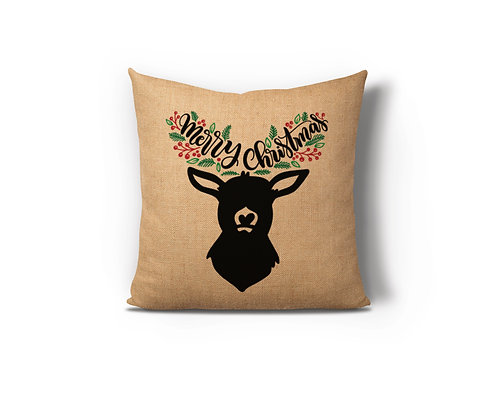 Merry Christmas Reindeer Burlap Pillow Case